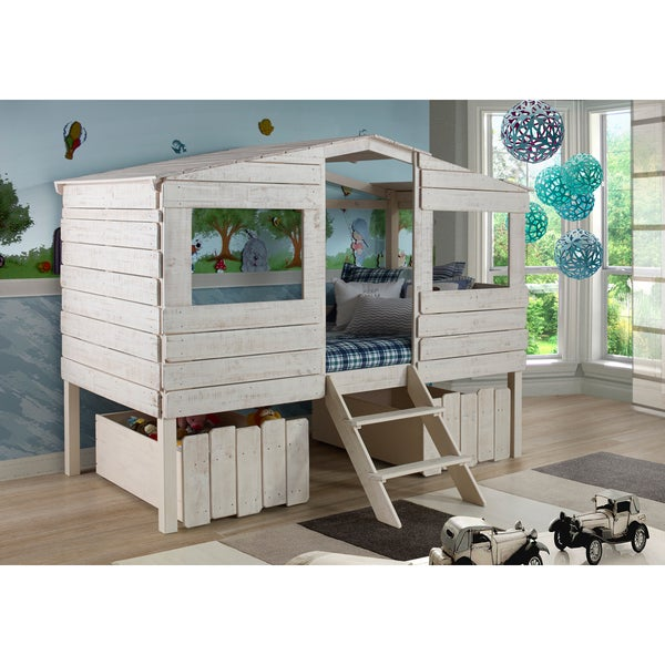 Shop Donco Kids Rustic Sand Twin Tree House Loft Bed With Storage