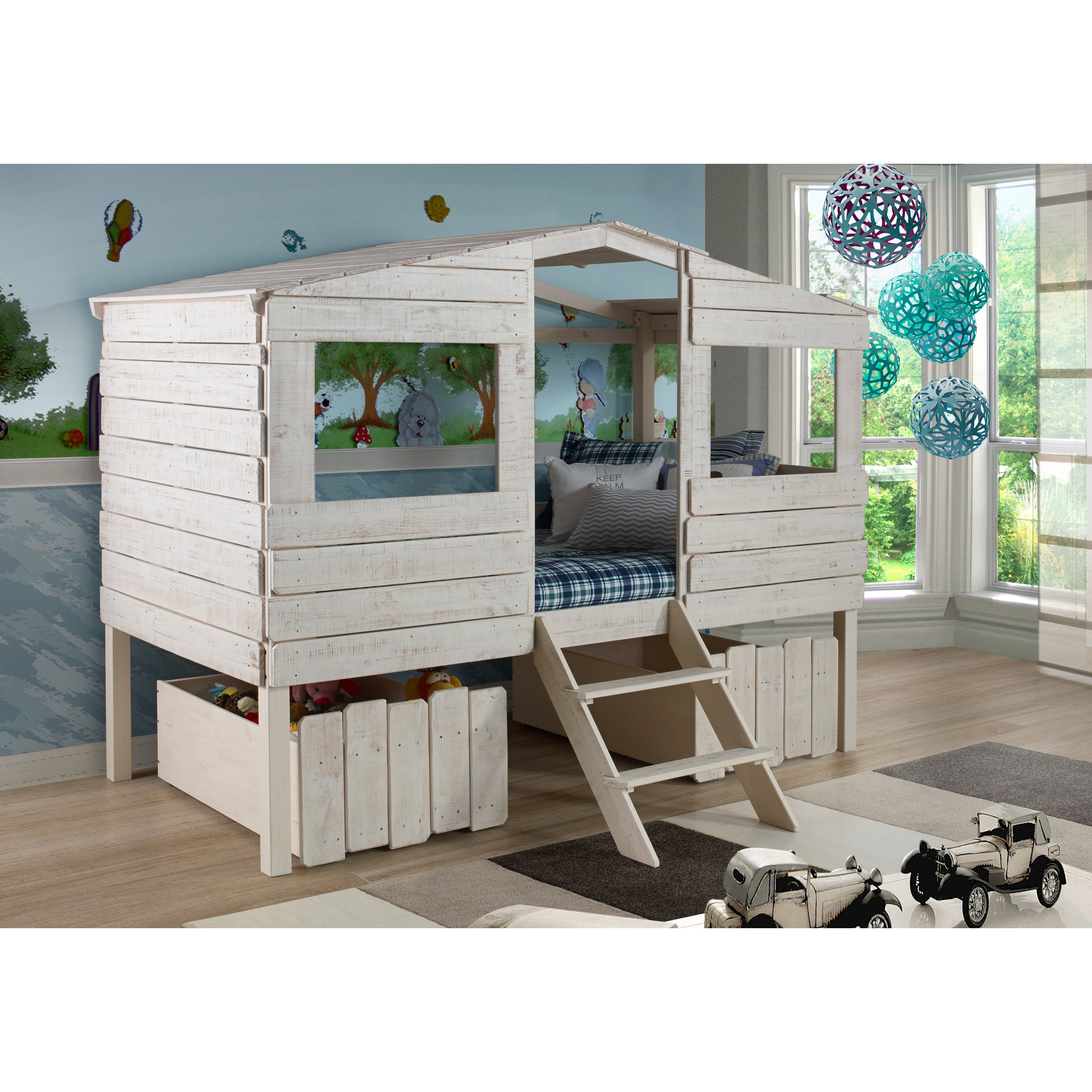 Donco Kids Rustic Sand Twin Tree House Loft Bed with Stor...