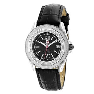 Centorum Designer 1/2ct TDW Diamond Black Strap Watch