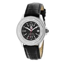 Centorvm Women's Designer 1/2ct TDW Diamond Black Strap Watch