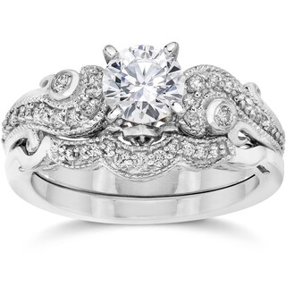 Bliss 14k White Gold 3/ 4ct TDW Vintage Diamond Engagement Wedding Ring Set (More options available)