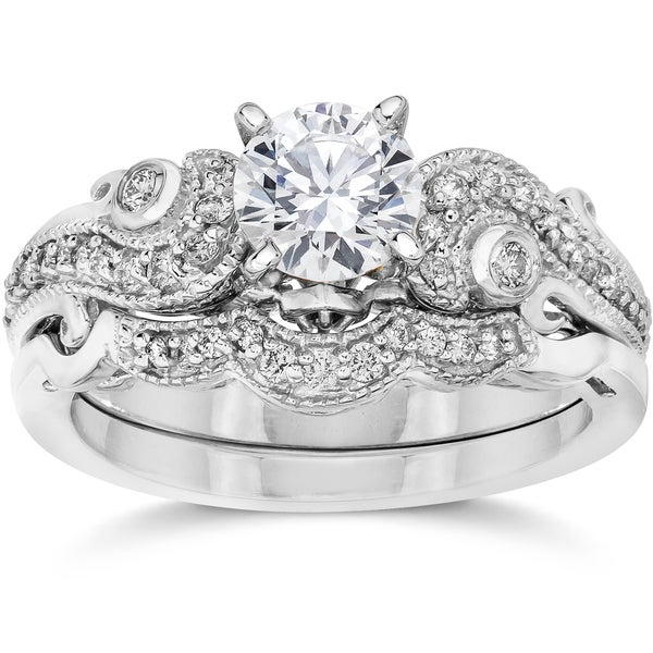 bliss 14k white gold 3 4ct tdw vintage diamond engagement wedding ring set - Vintage Wedding Rings Sets