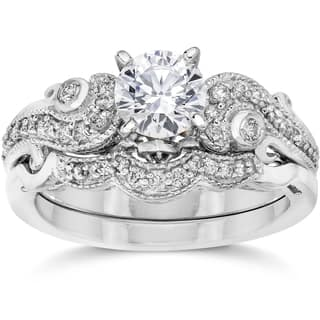 bliss 14k white gold 3 4ct tdw vintage diamond engagement wedding ring set - Engagement And Wedding Ring Sets