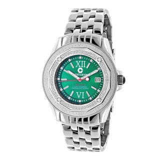 Luxurman Men's Designer 1/2ct TDW Diamond Emerald Face Watch: Midsize Centorum Falcon