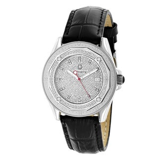 Centorum Men's 1/2ct TDW Diamond Black Strap Watch