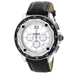 Men's Chronograph 3/5ct TDW Diamond Black Strap Watch