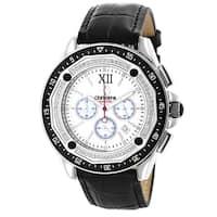 Men's Chronograph 3/5ct TDW Diamond Black Strap Watch
