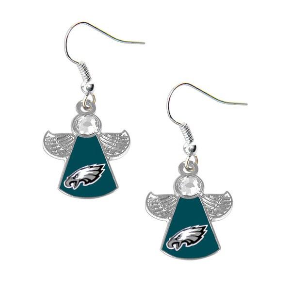 NFL Philadelphia Eagles Crystal Angel Wings Dangle Logo Earring Set