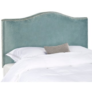Safavieh Jeneve Wedgwood Blue Velvet Upholstered Headboard - Silver Nailhead (King)