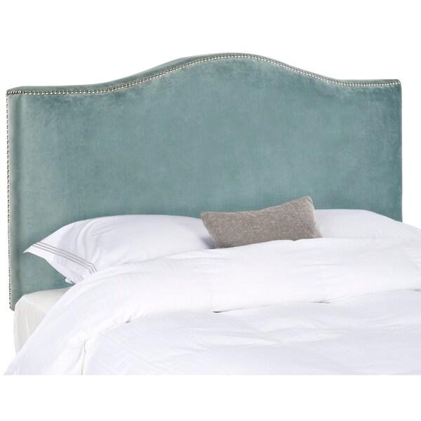 Safavieh Jeneve Wedgwood Blue Velvet Upholstered Headboard - Silver Nailhead (King). Opens flyout.