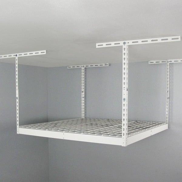 SafeRacks White 4u0026#x27; X 4u0026#x27; Overhead Garage Storage Rack