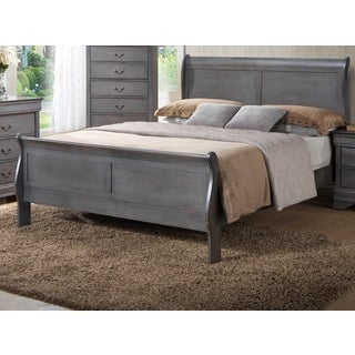 LYKE Home Louis Philippe Grey Queen Bed