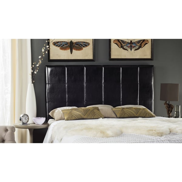 Safavieh Quincy Black Leather Box Quilted Upholstered Headboard Full