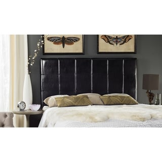 Safavieh Quincy Black Leather Box Quilted Upholstered Headboard (King)