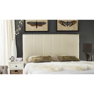 Safavieh Quincy White Leather Box Quilted Upholstered Headboard (King)