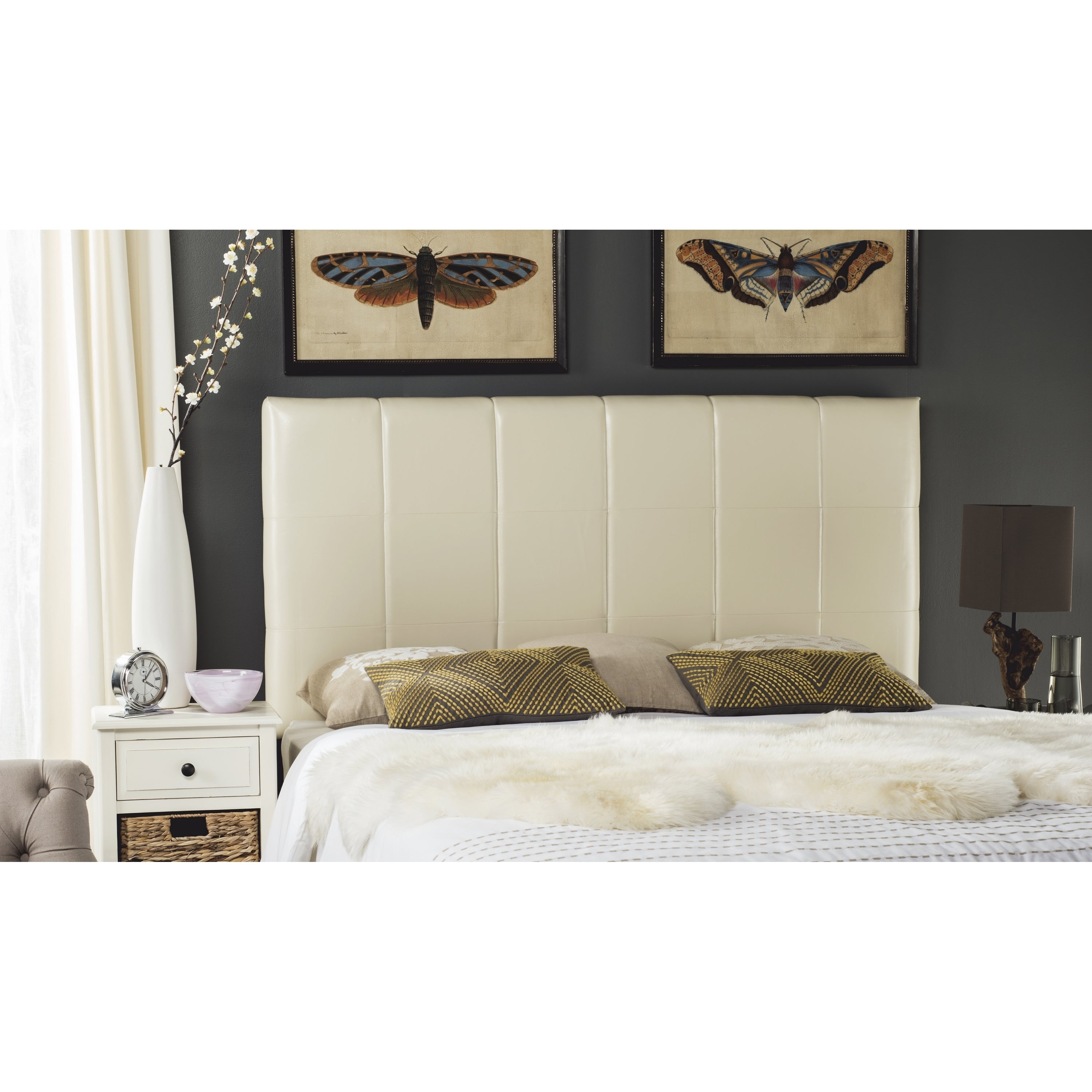 low cost a1df6 384fc Safavieh Quincy White Leather Box Quilted Upholstered Headboard (King)