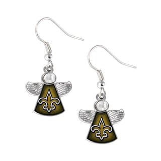 NFL New Orleans Saints Crystal Angel Wings Dangle Logo Earring Set