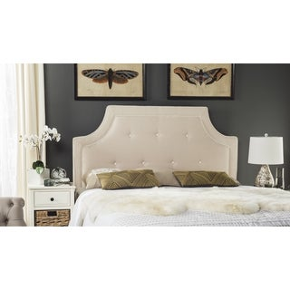 Safavieh Tallulah Beige/ White Piping Upholstered Arched Headboard (King)