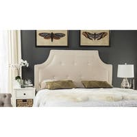 Safavieh Tallulah Beige/ White Piping Upholstered Arched Headboard (Queen)