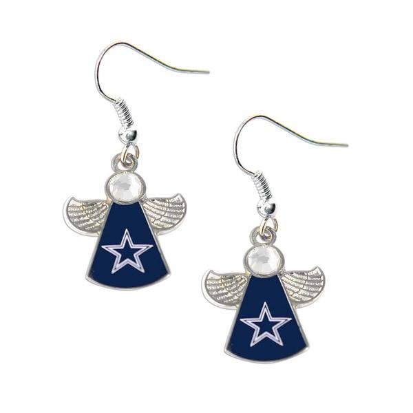 NFL Dallas Cowboys Crystal Angel Wings Dangle Logo Earring Set