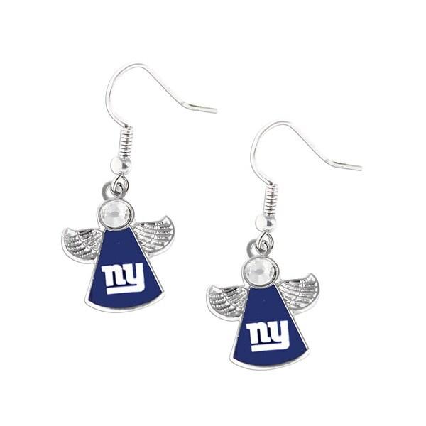 NFL New York Giants Crystal Angel Wings Dangle Logo Earring Set