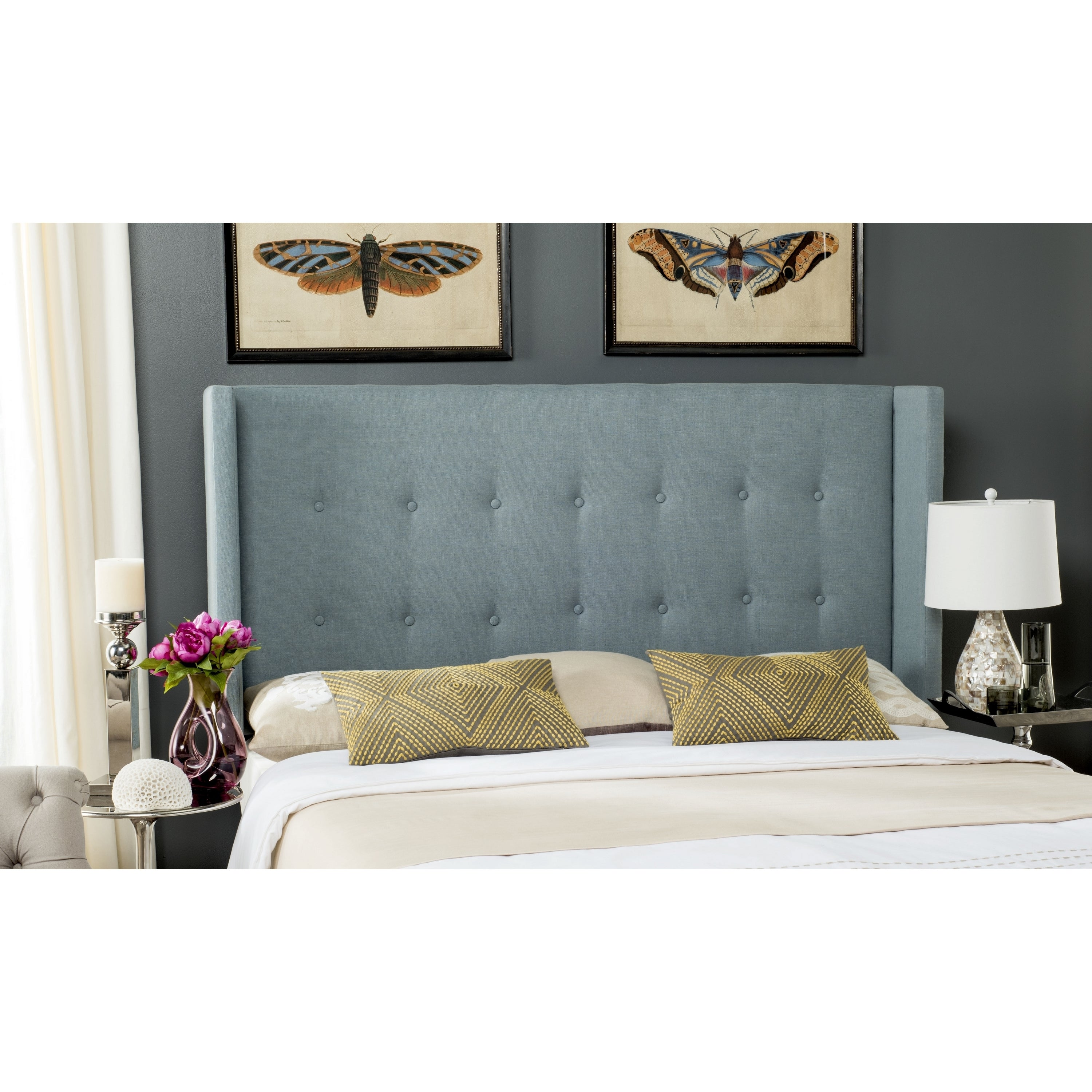 Picture of: Shop Safavieh Damon Sky Blue Upholstered Tufted Wingback Headboard King Overstock 11098674