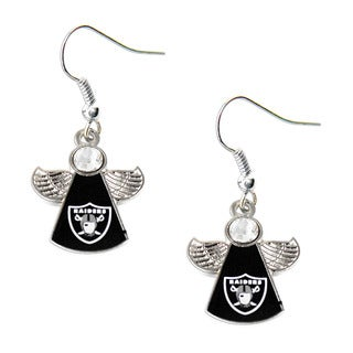 NFL Oakland Raiders Crystal Angel Wings Dangle Logo Earring Set
