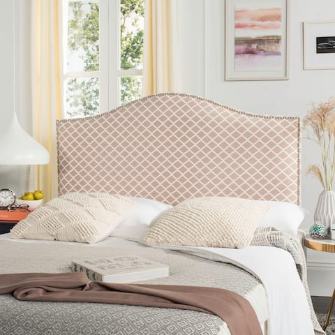 Safavieh Connie Dusty Rose/ White Diamond Camelback Headboard - Silver Nailhead (Queen)