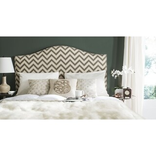 Safavieh Connie Grey/Wheat Chevron Camelback Headboard - Silver Nailhead (Queen)