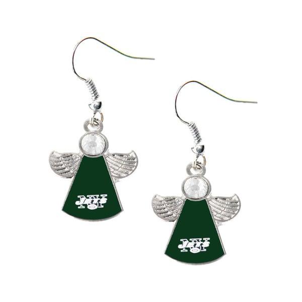 NFL New York Jets Crystal Angel Wings Dangle Logo Earring Set