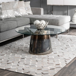 nuLOOM Grey Handmade Modern Keyhole Trellis Leather/ Viscose Area Rug