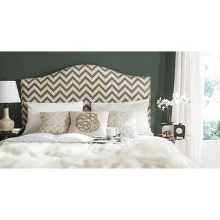 Safavieh Connie Grey/ Wheat Chevron Camelback Headboard - Silver Nailhead (Full)