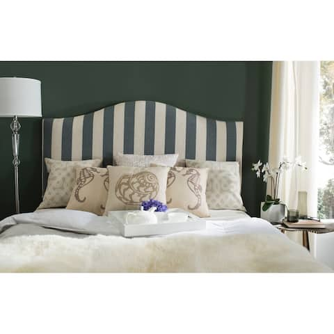 Safavieh Connie Grey and White Stripe Upholstered Camelback Headboard (Full)