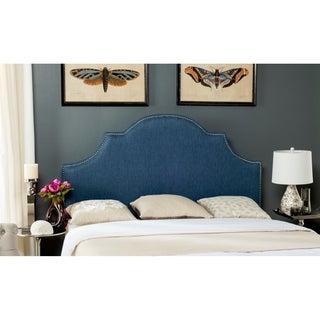 Safavieh Hallmar Denim Blue Upholstered Arched Headboard - Silver Nailhead (Full)