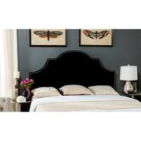 Safavieh Hallmar Black Velvet Upholstered Arched Headboard - Silver Nailhead (Full)