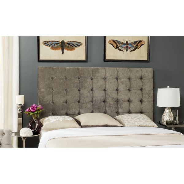 Safavieh Lamar Greige Velvet Upholstered Tufted Headboard (King)