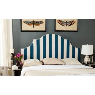 Safavieh Hallmar Navy/ White Stripe Upholstered Arched Headboard (Full)