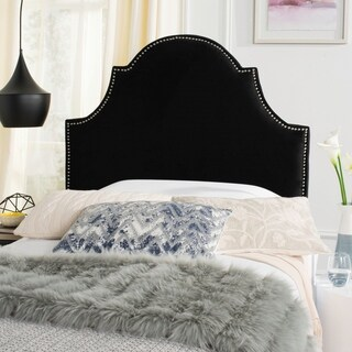 Safavieh Hallmar Black Velvet Upholstered Arched Headboard - Silver Nailhead (Twin)