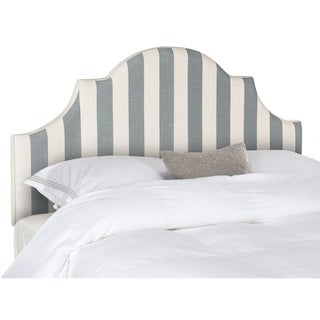 Safavieh Hallmar Grey/ White Stripe Upholstered Arched Headboard (Full)
