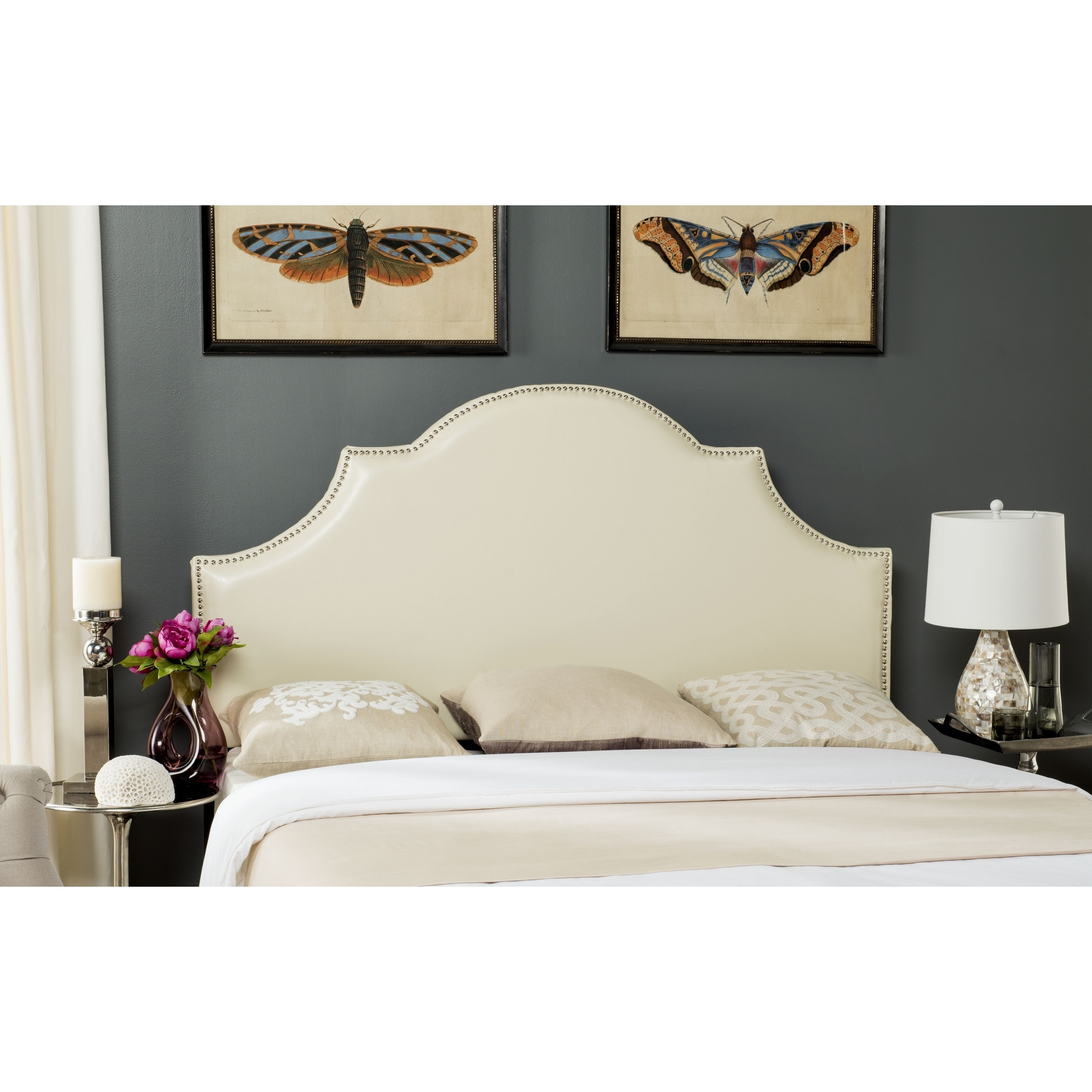 Safavieh Hallmar Off White Leather Upholstered Arched Headboard Silver Nailhead Full