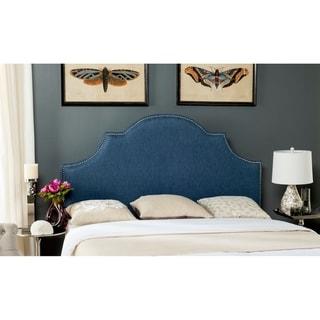 Safavieh Hallmar Denim Blue Upholstered Arched Headboard - Silver Nailhead (Queen)