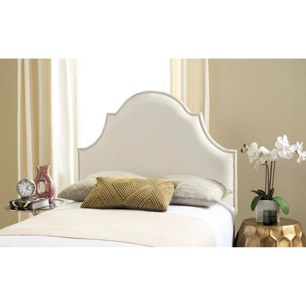 Safavieh Hallmar White Leather Upholstered Arched Headboard - Silver Nailhead (Twin). Opens flyout.