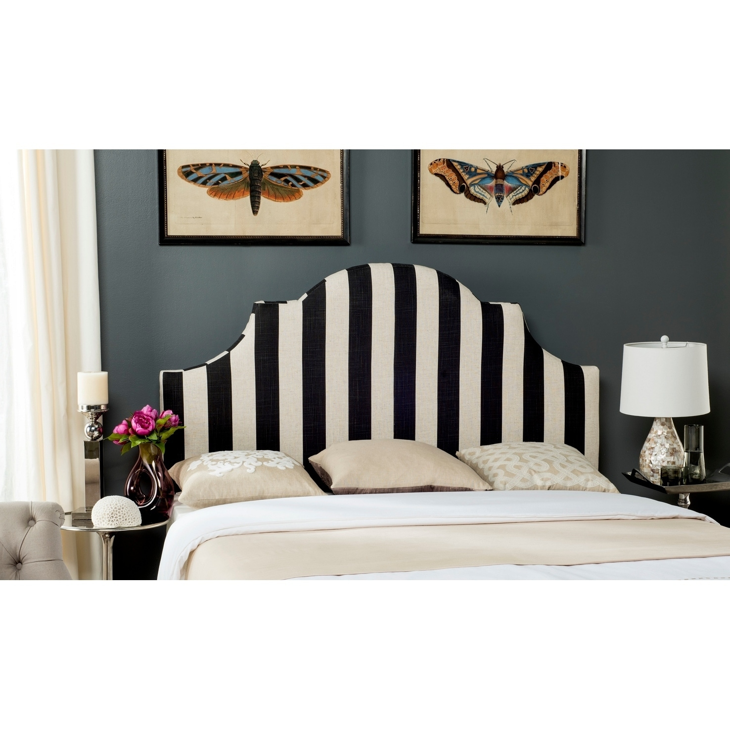 Safavieh Hallmar Black/ White Stripe Upholstered Arched H...