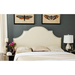 Delightful Safavieh Hallmar White Leather Upholstered Arched Headboard   Silver  Nailhead (Full)