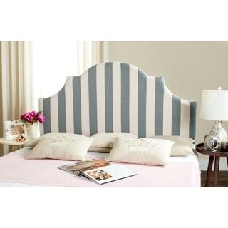 Safavieh Hallmar Grey/ White Stripe Upholstered Arched Headboard (King)