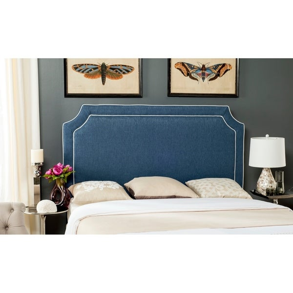 Safavieh Dane Denim Blue/ White Piping Upholstered Headboard (Queen). Opens flyout.