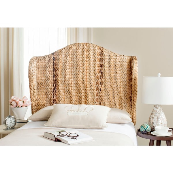 shop safavieh nadine natural woven wingback headboard twin on sale free shipping today. Black Bedroom Furniture Sets. Home Design Ideas