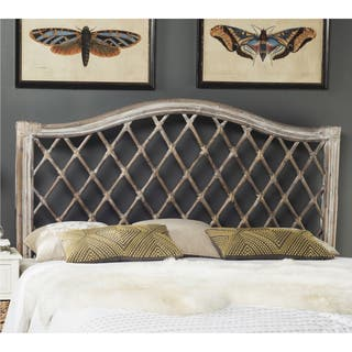 Safavieh Gabrielle Antique Grey Rattan Wicker Trellis Headboard Full
