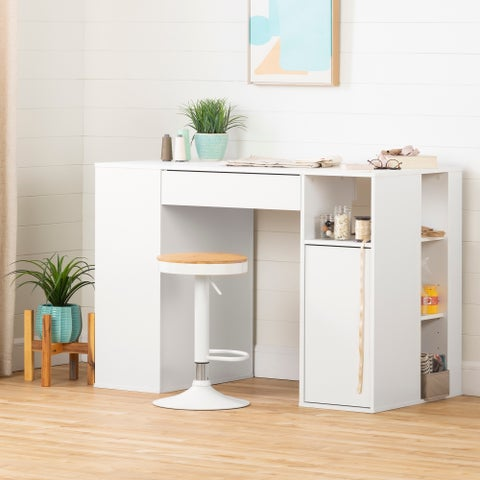 South Shore Furniture Crea White Wood Counter-height Craft Hobby Sewing Machine Table with Storage