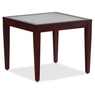 Lorell Glass Top Square Mahogany Table